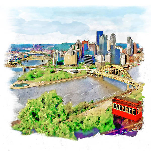 Tall Buildings Painting - Pittsburgh Aerial View by Marian Voicu