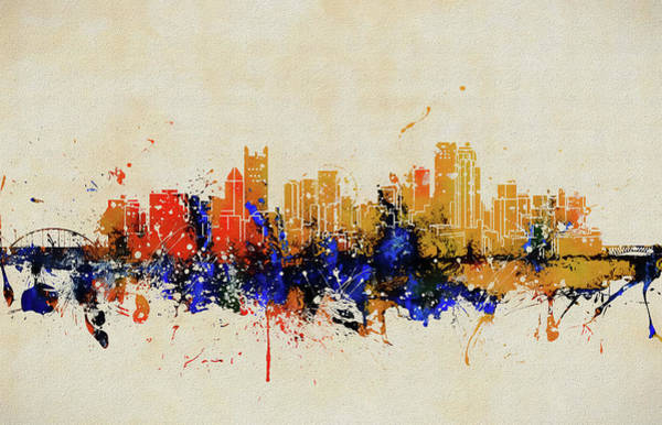 Wall Art - Painting - Pittsburgh Colorful Skyline  by Dan Sproul