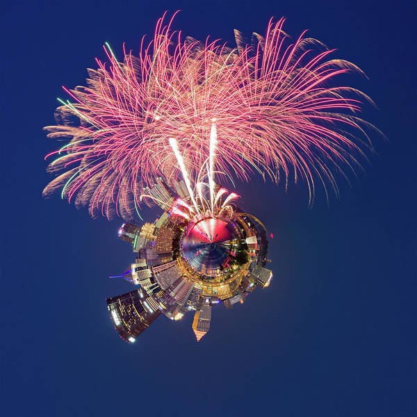 31st Photograph - Pittsburgh Fireworks 2 Little Planet  by Emmanuel Panagiotakis