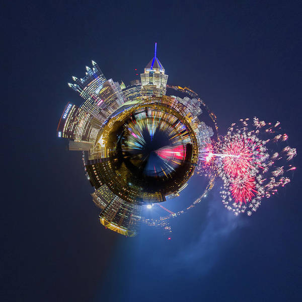 Photograph - Pittsburgh Fireworks Little Planet  by Emmanuel Panagiotakis