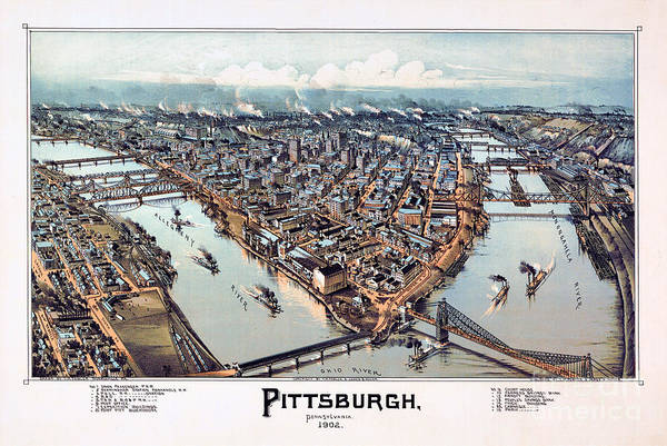 Wall Art - Drawing - Pittsburgh Pennsylvania 1902 by Vintage Treasure