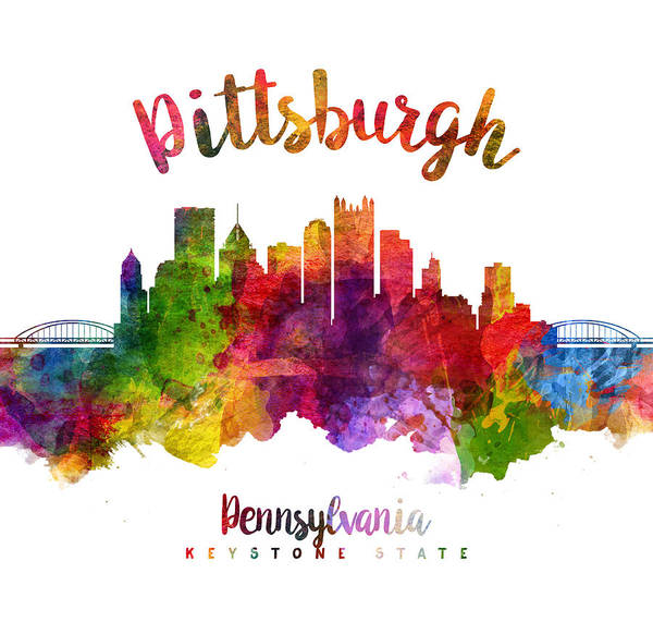 Wall Art - Painting - Pittsburgh Pennsylvania Skyline 23 by Aged Pixel