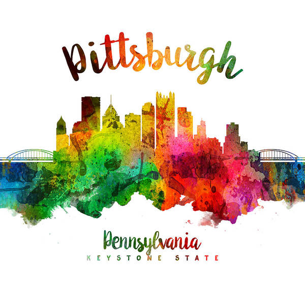 Wall Art - Painting - Pittsburgh Pennsylvania Skyline 24 by Aged Pixel