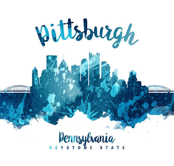 Wall Art - Painting - Pittsburgh Pennsylvania Skyline 27 by Aged Pixel