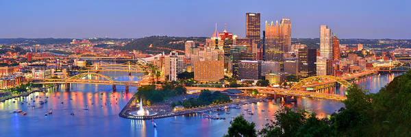 Wall Art - Photograph - Pittsburgh Pennsylvania Skyline At Dusk Sunset Panorama by Jon Holiday