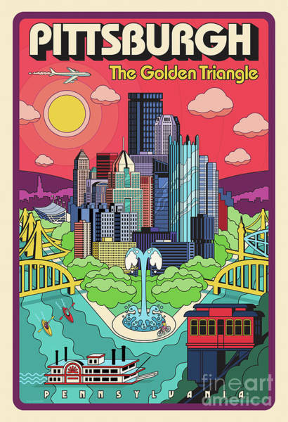 Golden Digital Art - Pittsburgh Poster - Pop Art - Travel by Jim Zahniser