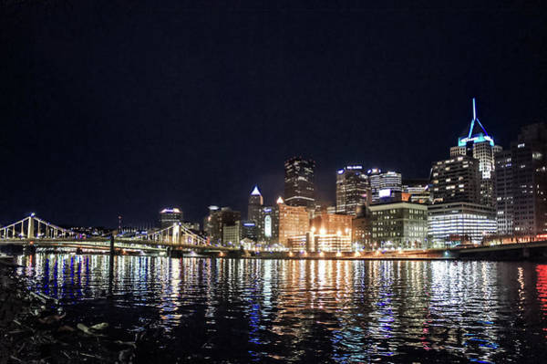 Wall Art - Photograph - Pittsburgh Riverfront At Night by Art Spectrum
