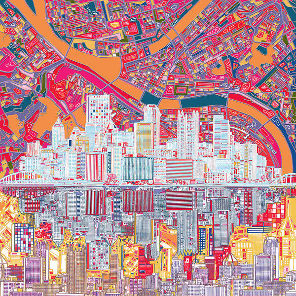 Square Tower Painting - Pittsburgh Skyline Abstract 2 by Bekim M