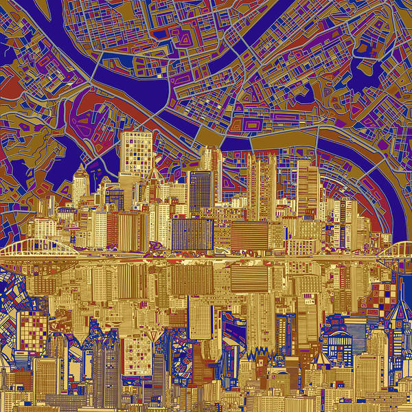 Square Tower Painting - Pittsburgh Skyline Abstract 3 by Bekim M