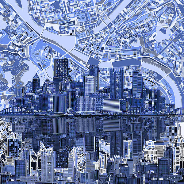 Square Tower Painting - Pittsburgh Skyline Abstract 4 by Bekim M