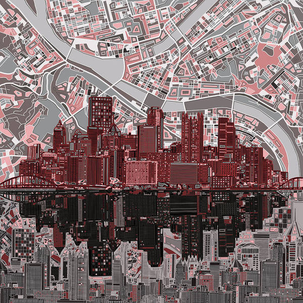 Square Tower Painting - Pittsburgh Skyline Abstract 5 by Bekim M