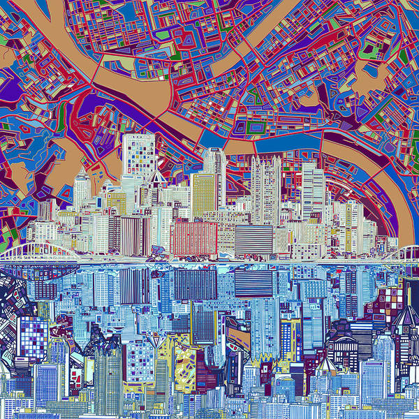 Square Tower Painting - Pittsburgh Skyline Abstract 6 by Bekim M
