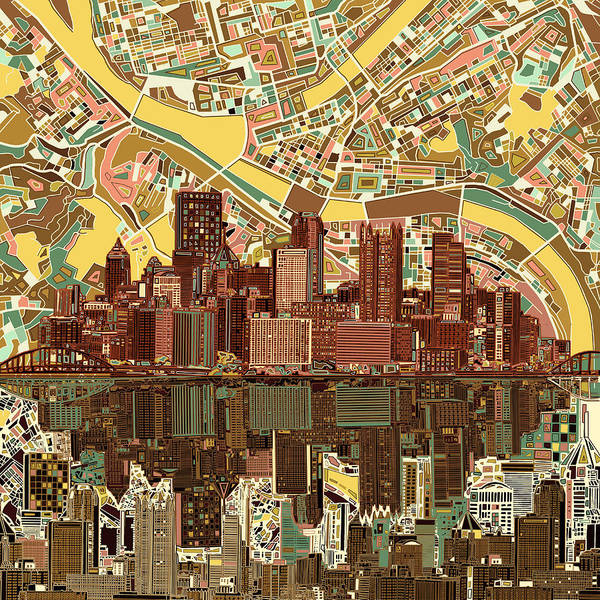 Square Tower Painting - Pittsburgh Skyline Abstract  by Bekim M