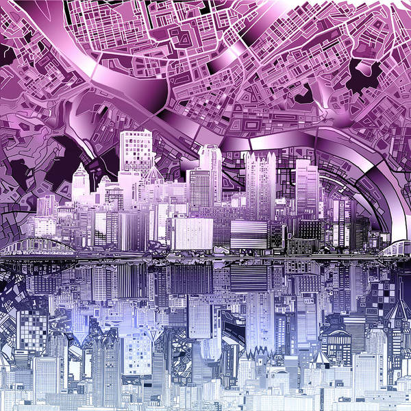 Square Tower Painting - Pittsburgh Skyline Abstract Purple by Bekim M