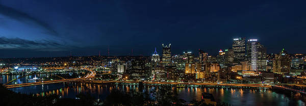 Photograph - Pittsburgh Skyline At Dusk Panoramic  by Terry DeLuco