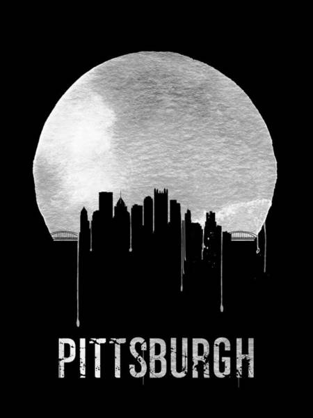 Wall Art - Digital Art - Pittsburgh Skyline Black by Naxart Studio