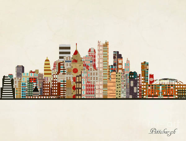 Wall Art - Painting - Pittsburgh Skyline by Bri Buckley