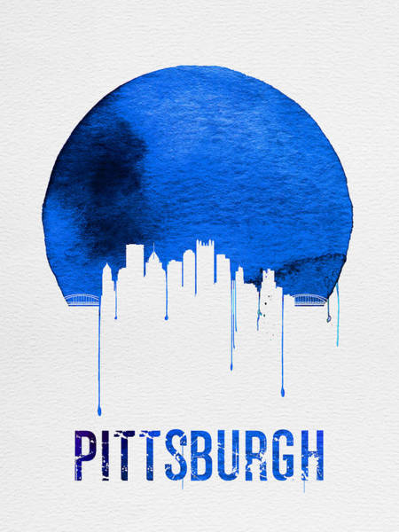 Wall Art - Digital Art - Pittsburgh Skyline Blue by Naxart Studio