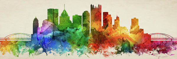 Wall Art - Digital Art - Pittsburgh Skyline Panorama Uspapi-pa03 by Aged Pixel