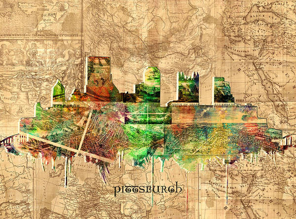 Square Tower Painting - Pittsburgh Skyline Vintage 2 by Bekim M