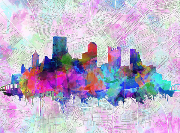 Square Tower Painting - Pittsburgh Skyline Watercolor by Bekim M