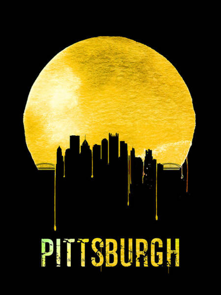 Wall Art - Painting - Pittsburgh Skyline Yellow by Naxart Studio