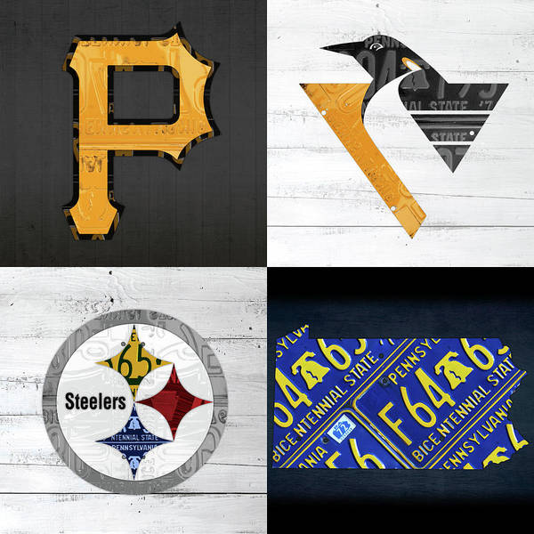 Wall Art - Mixed Media - Pittsburgh Sports Team Logo Art Plus Pennsylvania Map Pirates Penguins Steelers by Design Turnpike