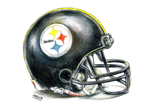 Red Drawing - Pittsburgh Steelers Helmet by James Sayer