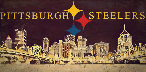 Mixed Media - Pittsburgh Steelers Skyline Canvas by Dan Sproul