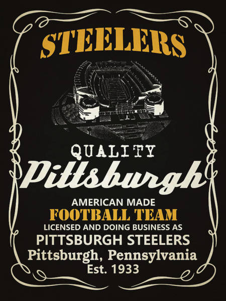 Super Bowl Mixed Media - Pittsburgh Steelers Whiskey by Joe Hamilton