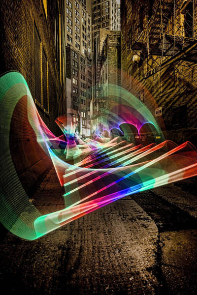 Photograph - Pixel Stick Light Painting In Chicago Alley by Sven Brogren