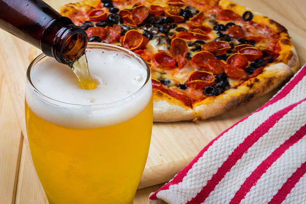 Foaming Wall Art - Photograph - Pizza And Beer by Garry Gay