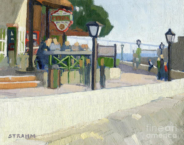 People Watching Painting - Pizza At Seaport Village, San Diego, California by Paul Strahm