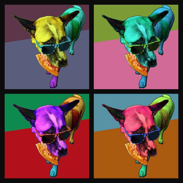 Wall Art - Digital Art - Pizza Dog Quartet by James W Johnson