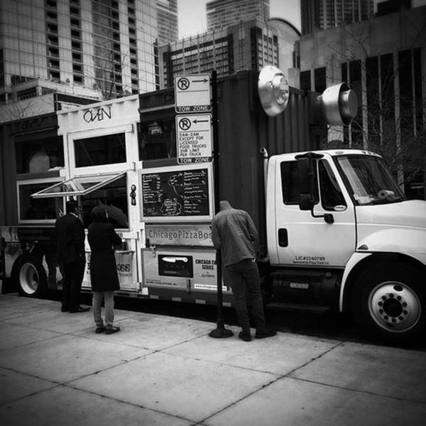 Wall Art - Photograph - Pizza Oven Truck - Chicago - Monochrome by Frank J Casella