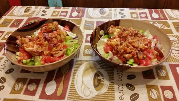 Salad Dressing Photograph - Pizza Salad by Sallie Wysocki