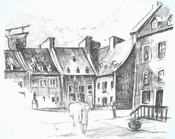 Quebec City Drawing - Place Royale, Quebec by Louise Lavallee