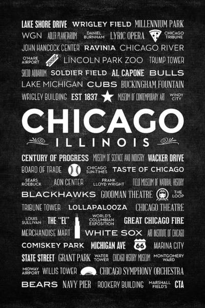 Digital Art - Places Of Chicago On Black Chalkboard by Christopher Arndt