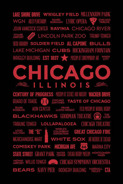 Digital Art - Places Of Chicago On Red On Black by Christopher Arndt