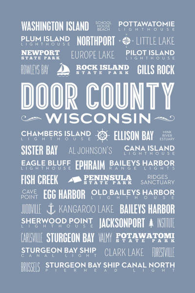 Ellison Bay Wall Art - Digital Art - Places Of Door County On Light Blue by Christopher Arndt