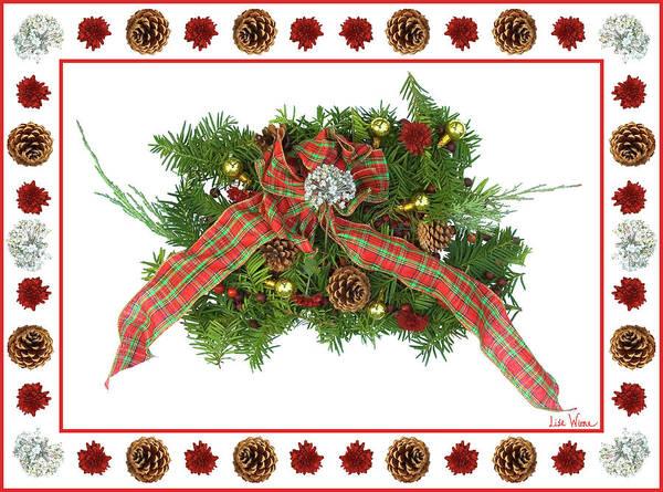 Digital Art - Plaid Bow With Christmas Regalia by Lise Winne