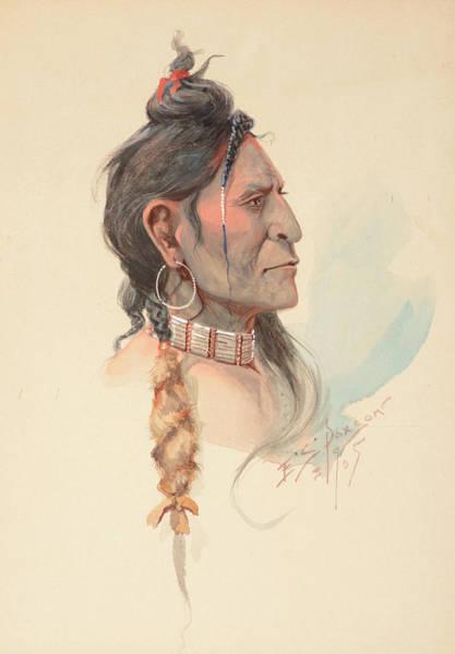 Turkey Feather Wall Art - Painting - Plains Warrior by Edgar Samuel Paxson