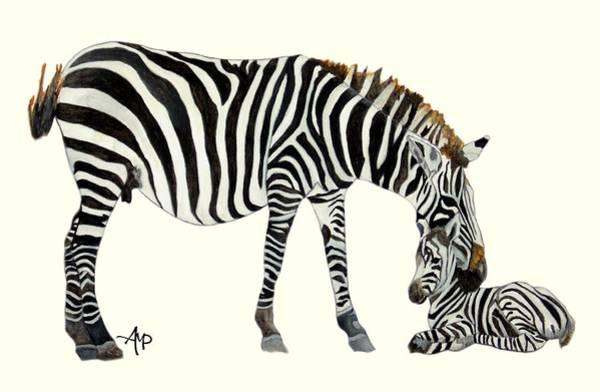 Painting - Plains Zebras by Angeles M Pomata