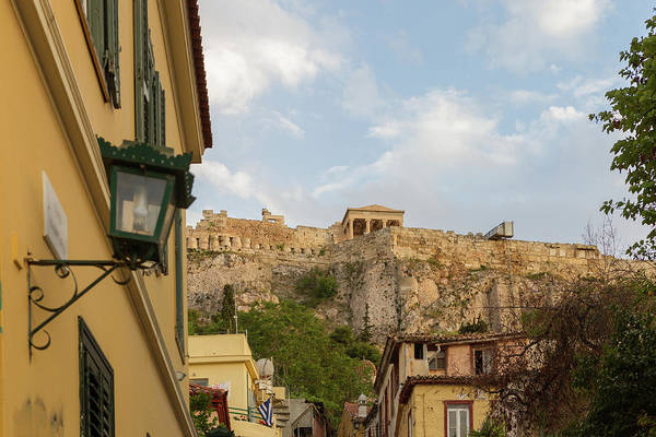 Nature Wall Art - Photograph - Plaka District In Athens Greece, With Acropolis In The Background by Iordanis Pallikaras