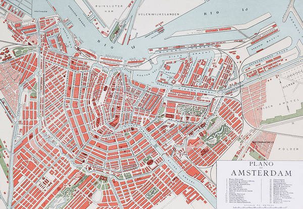 Wall Art - Drawing - Plan Of Amsterdam, Holland, At The Turn by Vintage Design Pics