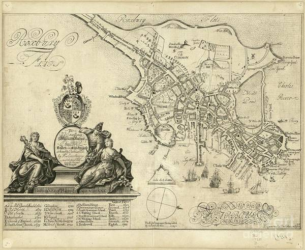 England Drawing - plan of Boston in New England 1728 by Baltzgar
