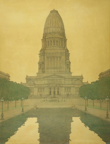 Vintage Chicago Drawing - Plan Of Chicago - Civic Center by Guerin Bennett Burham