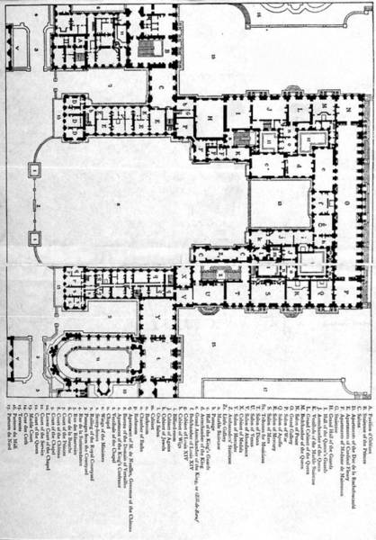 Chateau Drawing - Plan Of First Floor Of Chateau Of by Vintage Design Pics