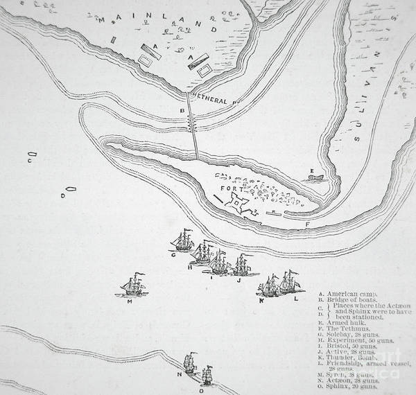 American History Drawing - Plan Of The Attack On Sullivan's Island, 1776 by American School