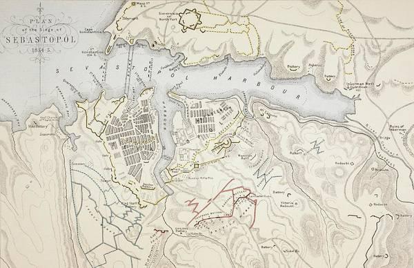 Ukraine Drawing - Plan Of The Siege Of Sevastopol, 1854 by Vintage Design Pics